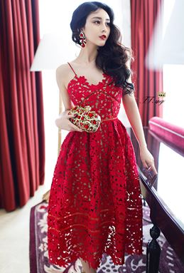 Hollow Strap Lace Dress