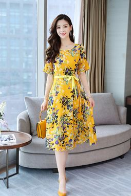 Temperament Floral Chiffon Dress