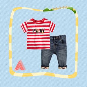 307-A  BOY SET  ( A ) - STRIPE RED  ( T-SHIRT + JEANS )