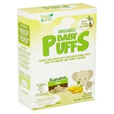 Love Earth Organic Baby Puffs Banana from 9 Month 4 Packs x 10g (40g)