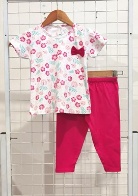 [SIZE 12/18M - 30/36M] Baby Girl Set : PASTEL FLOWER WHITE WITH HOT PINK PANT (9m - 36m) NF