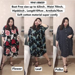 9941 Ready Stock  *Bust Free Size up to 62inch/ 157cm