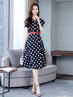 V-Neck Polka Dot Chiffon Dress