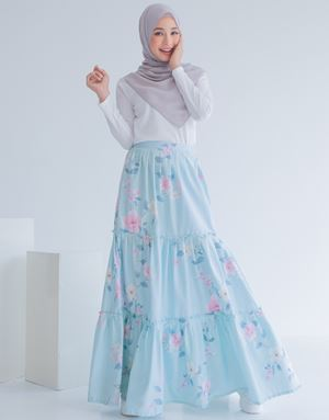 NUR FLORAL SKIRT IN MINT BLUE