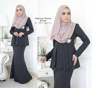 Peplum Riana Pleated Black