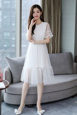 Mesh Stitching Lace Dress