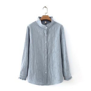 Embroidered Frilled Blouse (Dusty Blue)