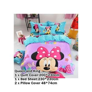 CARTOON BED SHEET MINNIE 2 DESIGN (FITTED) King Size Bed (8 inch height) N00357 READY STOCK