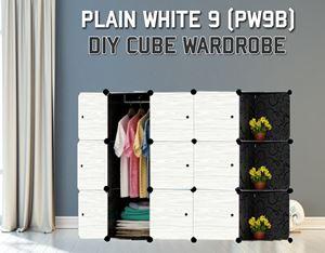 Plain White 9C DIY Wardrobe With Corner Rack (PW9BC)
