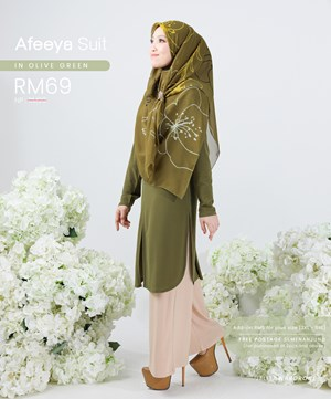 AFEEYA SUIT IN OLIVE GREEN