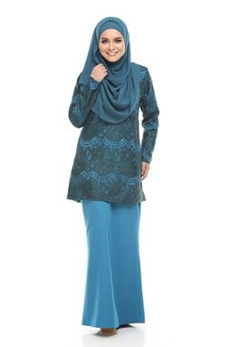 BLOW OUT CLEARANCE ~   Kurung Moden Lace Auliya - Sapphire Blue