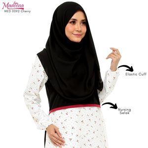 Madeena MED 0092 Nursing Shirt (Nursing Selak)  Black with White based CHERRY