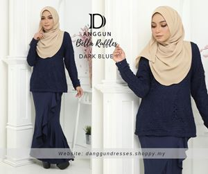 Kurung Bella Ruffles Dark Blue