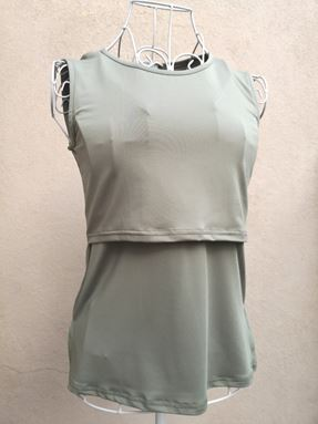 *Milk Silk* Sleeveless Nursing Inner (Army Green) - Size XS-S (Petite) , M-L (Regular)
