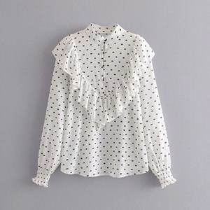WHITE TINY PRINTS TULLE SHIRT