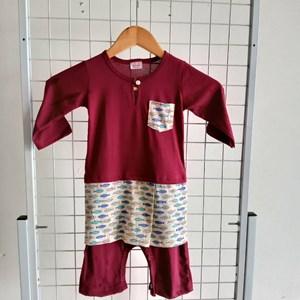 Baju Melayu Rompers, 18-24m, Purple with Small Fish  Sampin