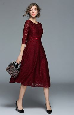 Women's Slim Long Lace Dress
