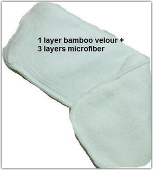 Microfiber top up bamboo velour insert