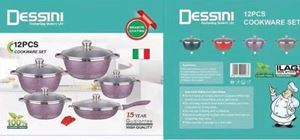 12PCS DESSINI COOKWARE GRANITE COATING (PURPLE)