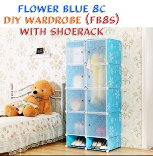 Flower Blue 8C DIY WARDROBE w SHOERACK (FB8S)