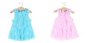 Sleeveless Mesh Flower Baby Dress