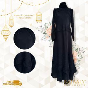 Embroided Zigzag Black Abaya
