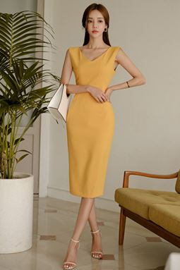 Yellow Sleeveless Slim Dress