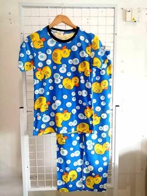 Pyjamas DUCK BUBBLE BLUE : Size DEWASA M- 4XL
