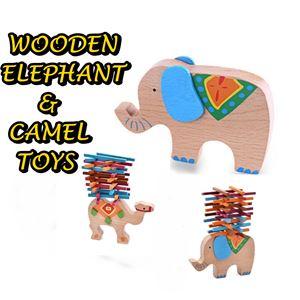WOODEN ELEPHANT & CAMEL TOYS