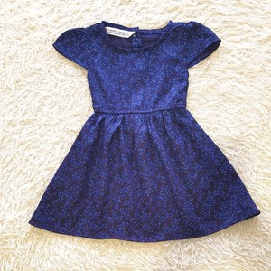 Baby and Kids Dress SMALL LEAVES BLUE : (6M - 18M & 2T - 7T) Brand KF