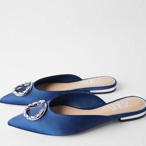 Zara Rhinestone Pointed Low Heeled Sandals