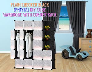 Plain Black 17C DIY Wardrobe With Corner Rack (PN17BC)
