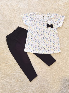 [SIZE 12/18M - 30/36M] Baby Girl Set : FLOWER MIX WHITE WITH BLACK PANT (9m - 36m) SPG