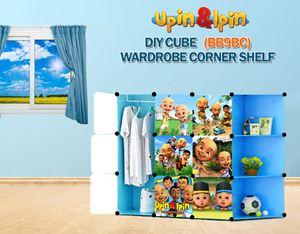 NEW Upin & Ipin BLUE 9C DIY Wardrobe with Corner Shelf (BB9BC)
