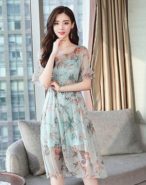 Chiffon Ruffle Floral Dress