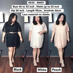 9D35 Ready Stock *Bust 46 to 52 inch /116-132cm