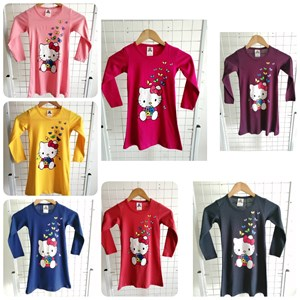 T-Shirt Girl Long Sleeve Hello Kitty Buttefly: Size 2-8 (1 - 6 tahun)