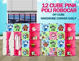 Robocar Poli Pink 12C DIY Cube W Corner Rack (PL12PR)