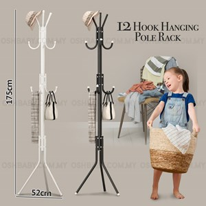 12 Hook Hanging Pole Rack