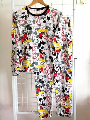 Pyjamas HLL WHITE MICKEY MOUSE : Size DEWASA M- 4XL