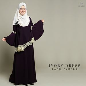Ivory Dress : Dark Purple