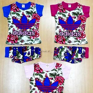 LAST 2set Color Soft Pink Tag 3/4.  ! Set suit / pyjamas Adidas Flower (Small Kids)