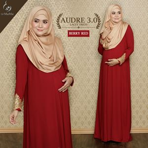 Audre Lacey Dress : Berry Red