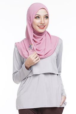 *Milk Silk* Long Sleeve Nursing Inner (Ash Grey) - XS HINGGA 4XL