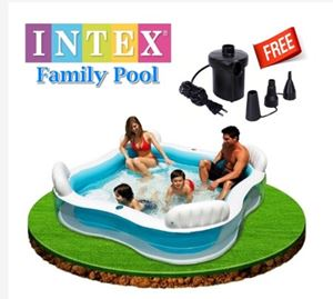 Intex Family Lounge Inflatable Pool With 4 Built-In Comfortable Seats White