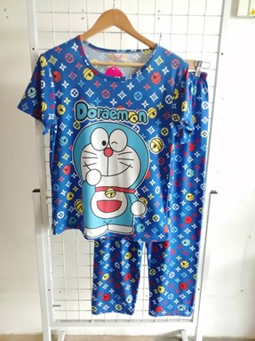 Pyjamas Dewasa Short Sleeve Doraemon LV Blue