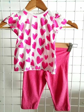 Baby Girl Set : Pink Love on White with Pink Pant size 9m - 24m