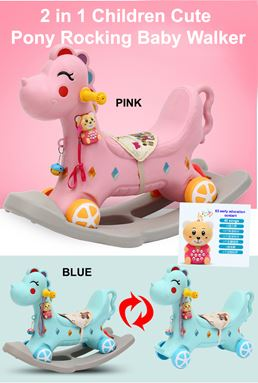 2 in 1 Children Kids Cute Pony Rocking Horse Baby Walker
