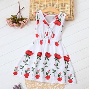 Cotton Silk Rose Flower Dress