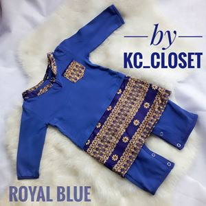 BAJU MELAYU ROMPER / JUMPER WITH ATTACHED SAMPIN (  ROYAL BLUE)